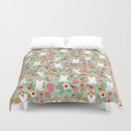 Corgi Florals - vintage corgi and florals gift great for corgi lovers, corgi gift, corgi florals, co Duvet Cover