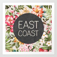 tupac Art Prints featuring East Coast by Text Guy