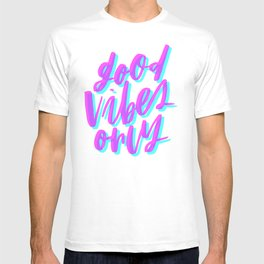 Good Vibes Only Cyan and Magenta T-shirt