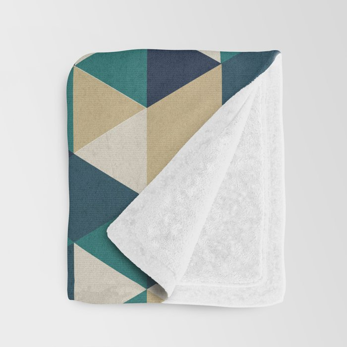 Foggy Petrol and Blue - Hipster Geometric Triangle Pattern Throw Blanket