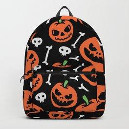 Happy halloween pumpkins, skulls and bones pattern Backpack