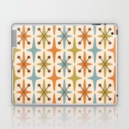 Mid Century Modern Abstract Star Pattern 441 Orange Brown Blue Olive Green Laptop & iPad Skin