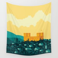 castle Wall Tapestries featuring Golden castle by Roland Banrevi