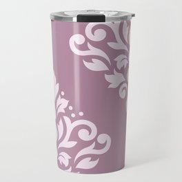 Scroll Damask Art I Pink on Mauve Travel Mug