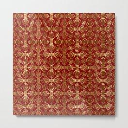 Art-deco gold foil look & burgundy pattern Metal Print