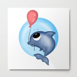 Dolphin with a red Balloon png Metal Print