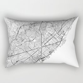 Barcelona White Map Rectangular Pillow