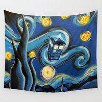 daenerys targaryen Wall Tapestries featuring Tardis Starry Night by DavinciArt