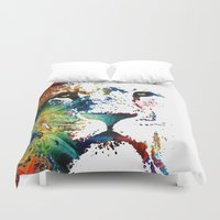 nfl Duvet Covers featuring Colorful Lion Art By Sharon Cummings by Sharon Cummings