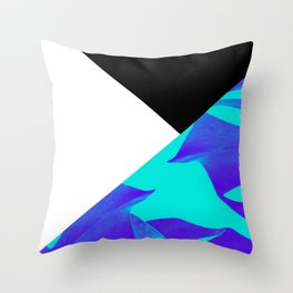 Abstract Blue Monsteras Throw Pillow