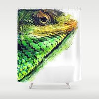 chameleon Shower Curtains featuring chameleon by jbjart