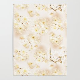 Lost in Antique White Flowers Poster
