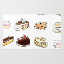 Watercolor Desserts pattern Rug