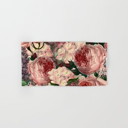 Vintage & Shabby Chic Pink Dark Floral Roses Lilacs Flowers Watercolor Pattern Hand & Bath Towel