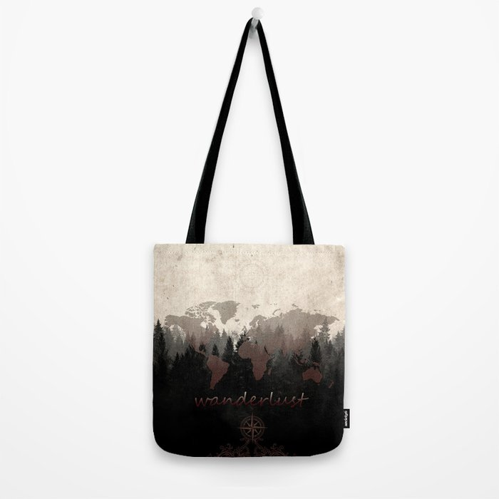 world map wanderlust forest Tote Bag