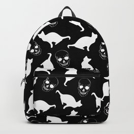 Skulls, Cats, Black and White, Pattern Backpack