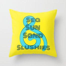 Sea Sun Sand & Slushies (Yellow) Throw Pillow