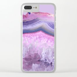 Ultraviolet and Pink Agate Clear iPhone Case