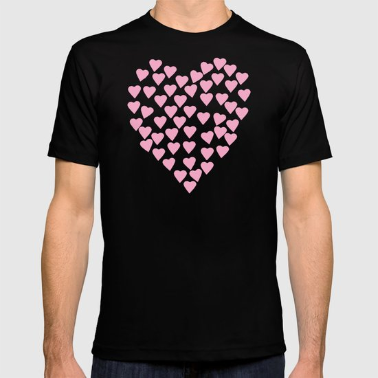 Hearts Heart Pink on Blue T-shirt