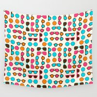sunglasses Wall Tapestries featuring Sunglasses by Valendji