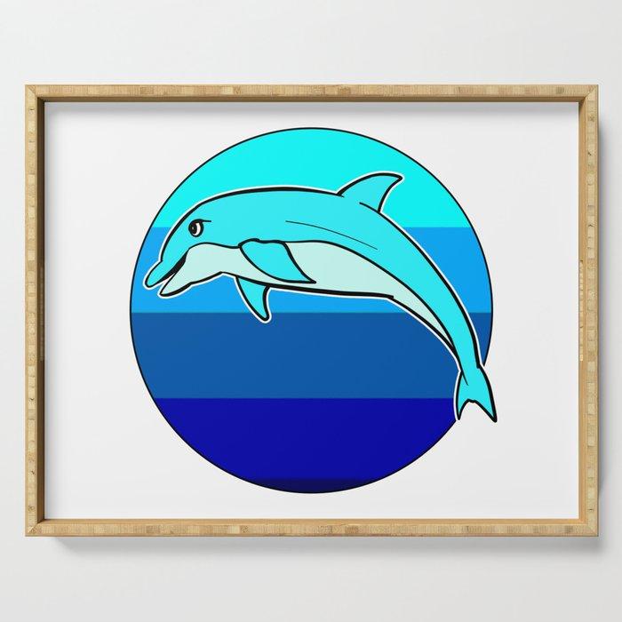 Retro Jumping Dolphin 1980s Beach Design Serving Tray
