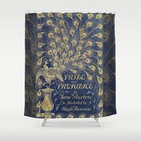 jane austen Shower Curtains featuring Pride and Prejudice by Jane Austen Vintage Peacock Book Cover by ForgottenCotton