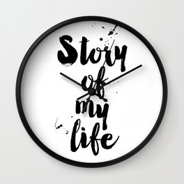 "One Direction quote from the song title ""Story of my life"" Wall Clock"