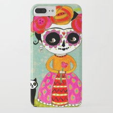 Day Of The Dead Frida with Black Cat Slim Case iPhone 7 Plus
