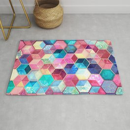 Topaz & Ruby Crystal Honeycomb Cubes Rug