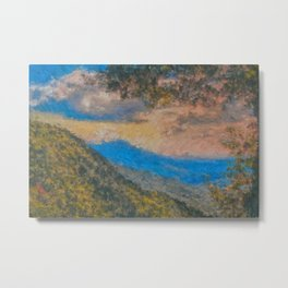 Distant Mountains Impressionistic Metal Print