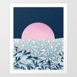 Geometric Sunset - Navy Blue and Pink Art Print