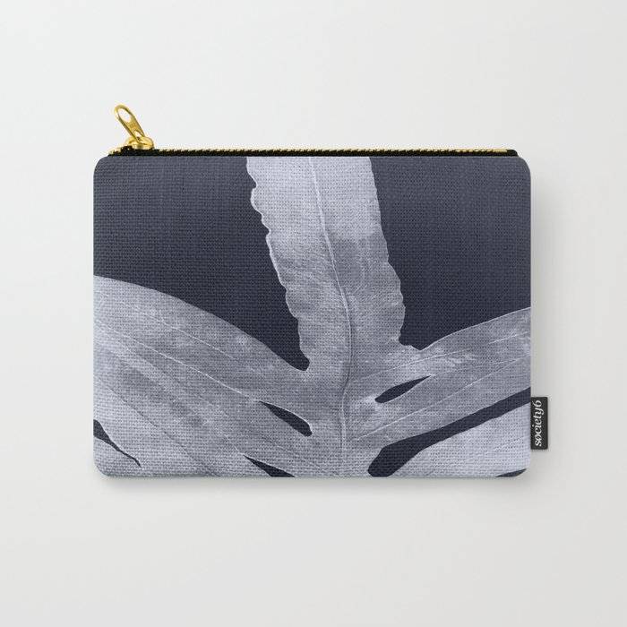 Green Fern Silver Black Carry-All Pouch