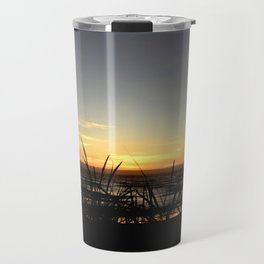 SUNSET OVER THE PACIFIC OCEAN THRU THE BEACH GRASS Travel Mug