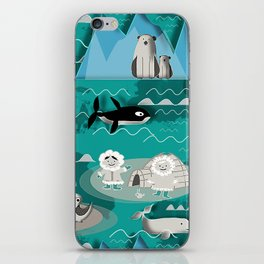Arctic animals teal iPhone Skin