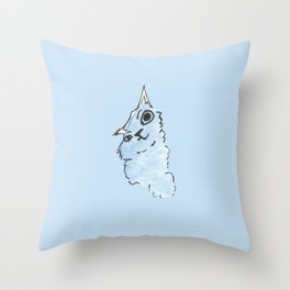 Kitty Blue Throw Pillow
