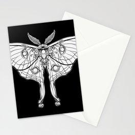 Art Nouveau Moth (black background) Stationery Cards
