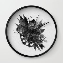 Prague, Czech Republic Black and White Skyround / Skyline Watercolor Painting Wall Clock