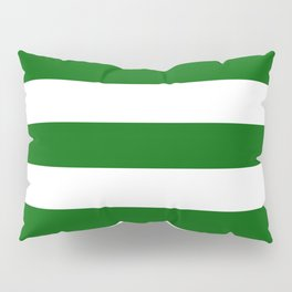 Emerald green - solid color - white stripes pattern Pillow Sham