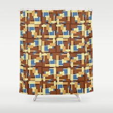 Blue Earth Patch Pattern Shower Curtain