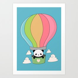 Kawaii Panda Bear Hot Air Balloon Art Print