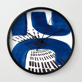 Abstract Expressionism Mid Century Modern Acrylic Painting Minimalist Art Navy Blue Black Line Patte Wall Clock