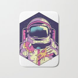 Hungry Astronaut Eating Donuts and Pizza Bath Mat