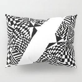 Circular Face, Black/White Abstract (ink drawing) Pillow Sham
