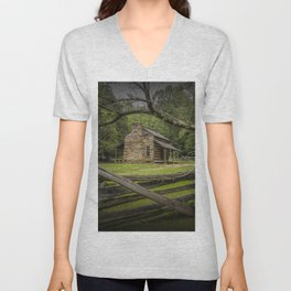 Oliver Log Cabin in Cade's Cove Unisex V-Neck