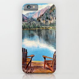 'Sit & Breathe' Adirondack Chair Original Art - Mountain Lake Wall Decor iPhone Case
