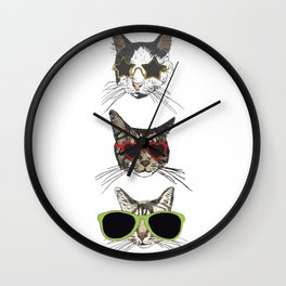 Cats Wearing Sunglasses Wall Clock