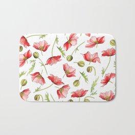 Red Poppies, Illustration Bath Mat