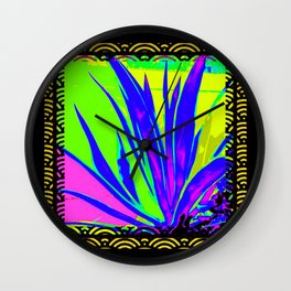 Colorful  Blue Tropical Foliage Black-Gold Color Abstract Wall Clock