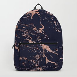 Modern chic navy blue rose gold marble pattern Backpack