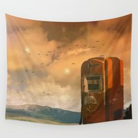 pocket fuel Wall Tapestries featuring old fuel pump by Cenk Cansever